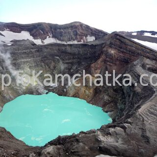 Kamchatka. The acid lake in the crater of Gorely volcano