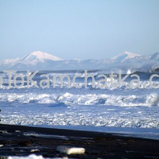 Kamchatka. Pacific Ocean and Khalaktyrsky Beach in winter