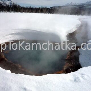 Kamchatka.  Nalychevo Nature Park. Hot spring Griffon Ivanova. Winter tours in Kamchatka