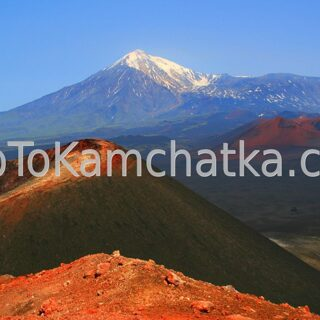 Kamchatka. Plosky Tolbachik Volcano and Ostry Tolbachik Volcano. View from the «Northern vents» cone