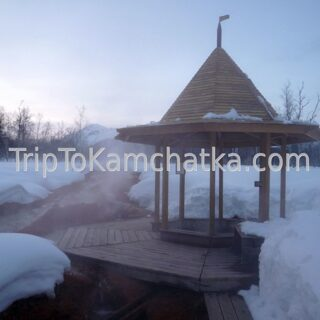 Kamchatka. Central cordon of the Nalychevo Nature Park. Hot springs. Winter tours in Kamchatka