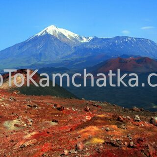 Kamchatka. View on the Tolbachik volcano from the Nothern vent. Tours to the Tolbachik volcano