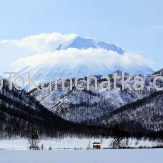 Kamchatka. View on the Koryaksky volcano from the Nalychevo Nature Park. Winter tours in Kamchatka