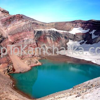 Kamchatka. The lake in the crater of Gorely volcano