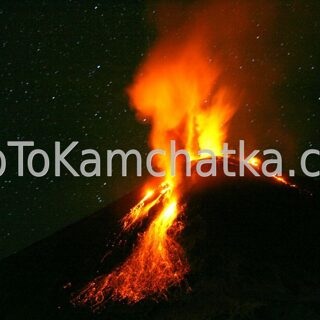 Kamchatka. Night eruption of the Klyuchevskoy Volcano. Tours to the Klyuchevskoy Volcano