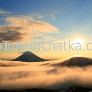Kamchatka. View of the sunrise from the slopes of Gorely volcano